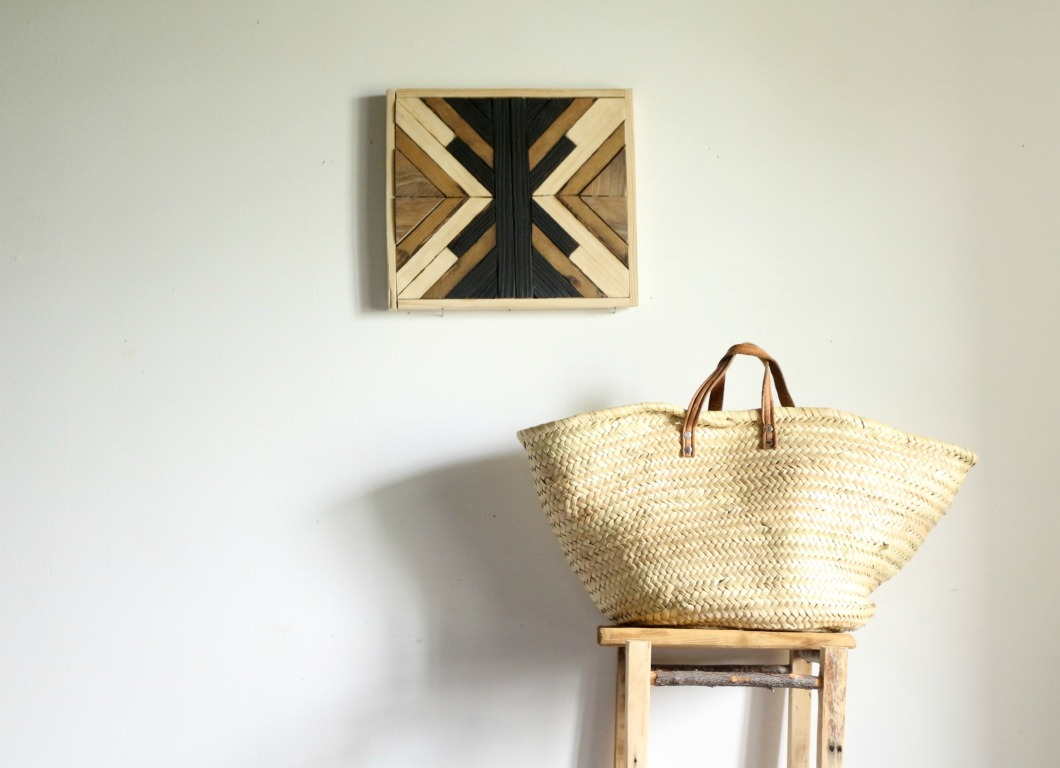 tableau en bois marqueterie moderne